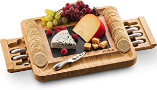 Mitbak Cheese Board Tray with 12 Cheese Utensils   Bamboo Charcuterie Board Serving Tray   Cutting Board Platter Great Gift For Christmas, Anniversary, Bridal Shower, Wedding   16 x 13 x 2 Inches