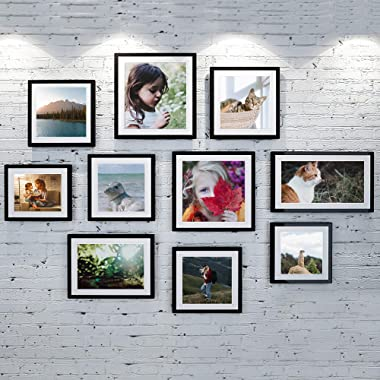 upsimples 5x7 Picture Frame with Real Glass,Bulk Photo Frames for Wall or Tabletop Display,Set of 17,Black