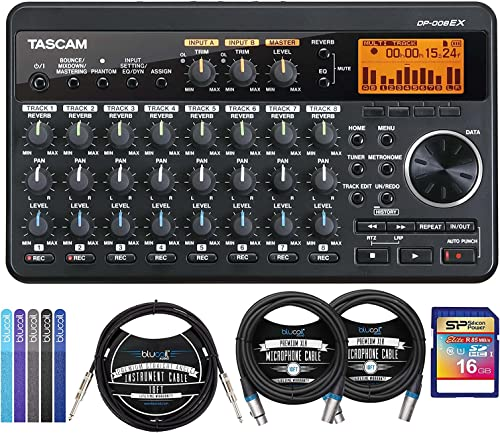 """2021 TASCAM DP-008EX PocketStudio Multi-Track Digital Audio Recorder Bundle with 16GB SDHC Memory Card, Blucoil new arrival 10' outlet sale Straight Instrument Cable (1/4""""), 2-Pack of 10-FT Balanced XLR Cables, and 5x Cable Ties sale"""