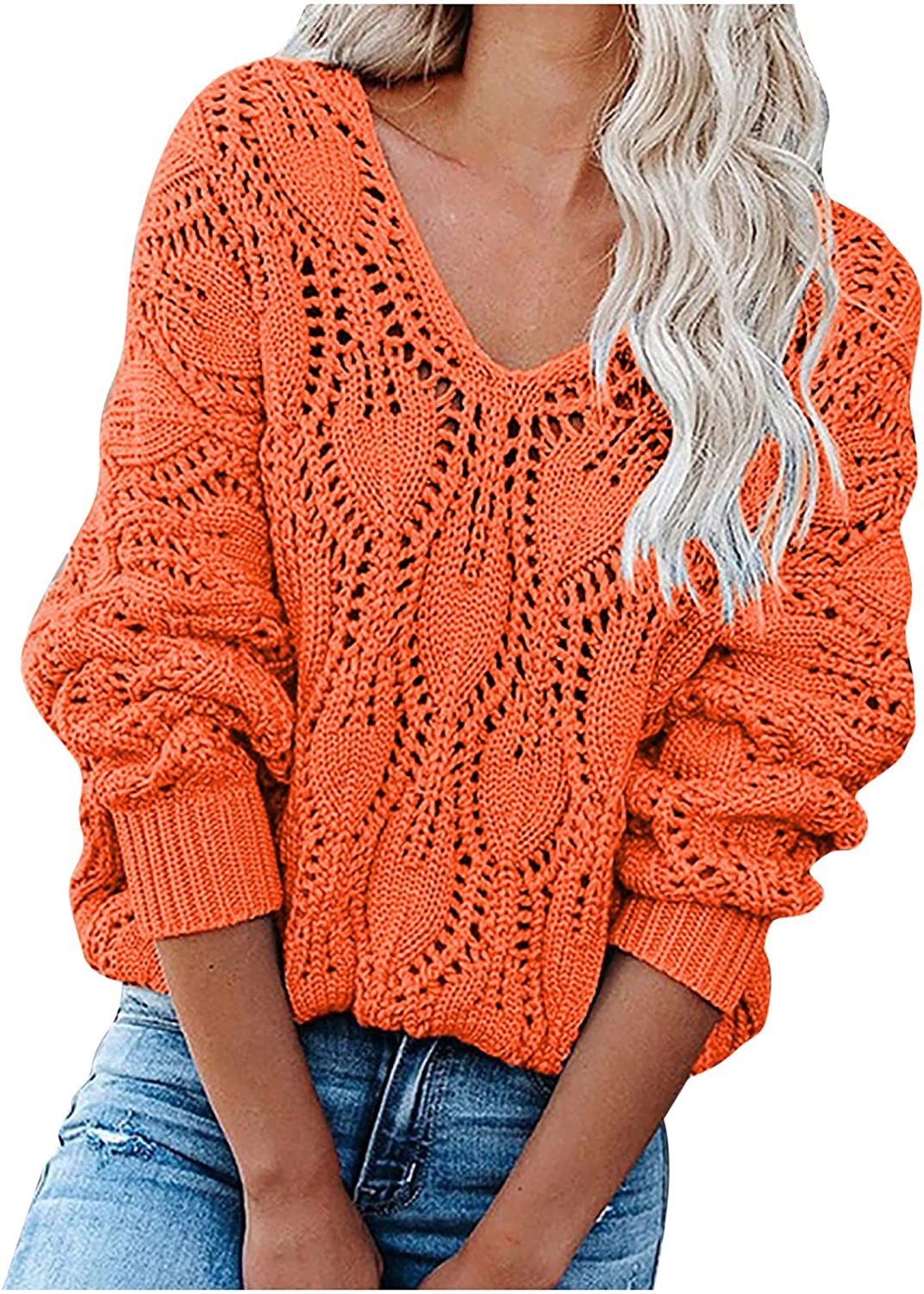Womens V Neck Long Sleeve Hollow Out Solid Cable Knit Pullover Sweaters Casual Loose Sweatshirts