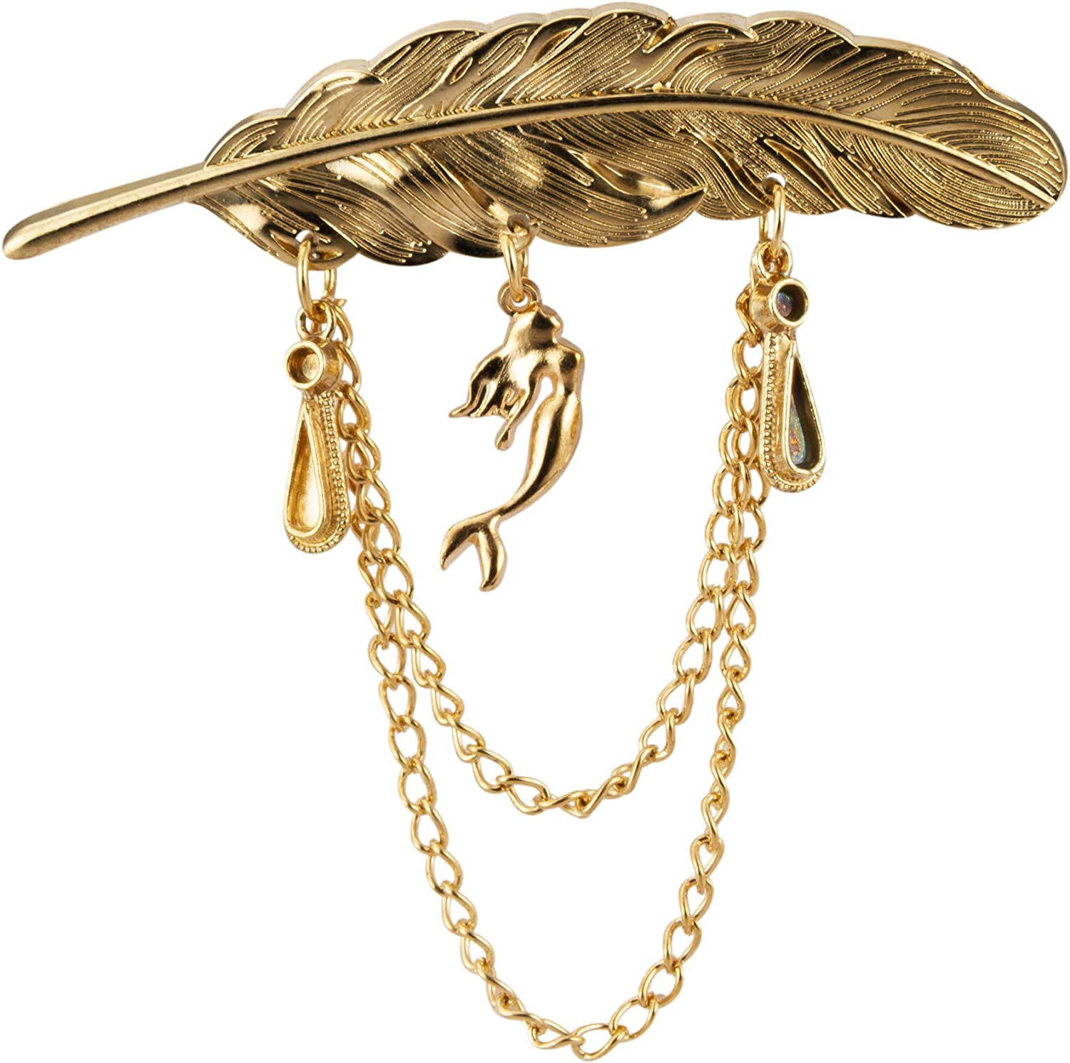 Knighthood Golden Feather with Hanging Chain and Mermaid Detailing Lapel Pin Brooch Shirt Stud
