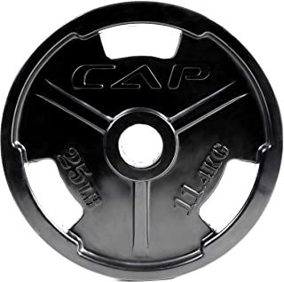CAP Barbell Black Olympic Rubber Grip Weight Plates, Single, Various Sizes