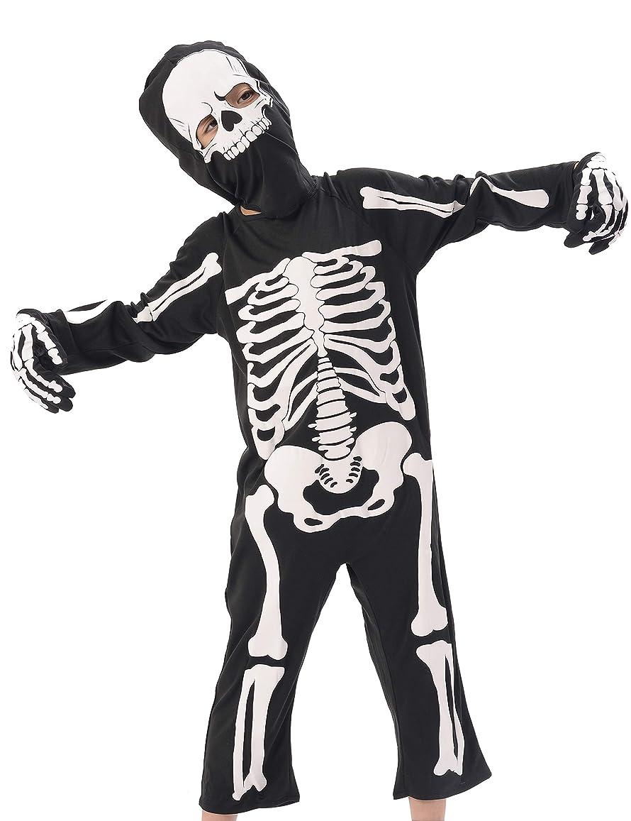 祝う無人家族ハロウィンコスチューム子供用スケルトンジャンプスーツ、3点(ジャンプスーツ、手袋、キャップ)