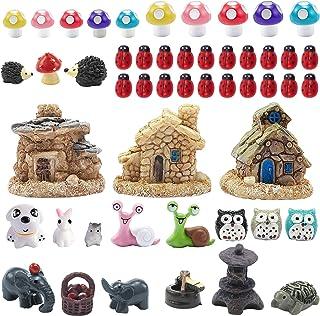 44 Pieces Miniature Fairy Garden Accessories, Including Miniature Fairy Garden House, DIY Dollhouse Ornaments Kits Fairy G...