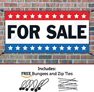 HALF PRICE BANNERS | for Sale Vinyl Banner -Mesh Wind Resistant 3X5 Foot -Stars | Includes Ball Bungees & Zip Ties | Easy Hang Sign-Made in USA