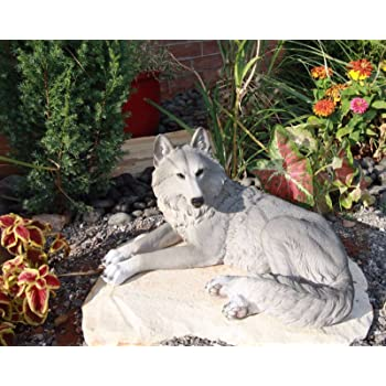 """Gifts & Decor Ebros Direwolf Ghost Resting Alpha Grey Gray Lone Wolf Large Statue 15.75"""" Long As Wolf Timberwolf Themed Decorative Indoor and Patio Figurine"""