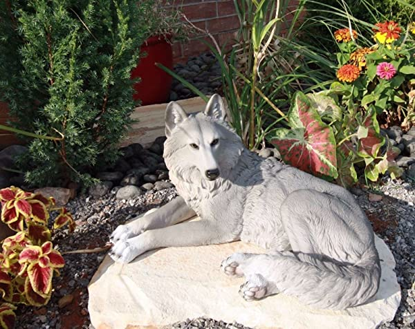 Ebros Direwolf Ghost Resting Alpha Gray Lone Wolf Large Statue 15 75 Long As Wolf Timberwolf Themed Decorative Indoor And Patio Figurine