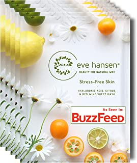 Eve Hansen Hydrating Antioxidant Face Mask Sheet X5 | Cruelty-Free Facial Masks with Hyaluronic Acid, Red Wine Extract for Wrinkles, Dark Spots, Pore Minimizer for Women and Men