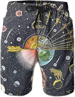 Pantalones Cortos de Playa de Verano con Reloj cósmico para Hombre Pantalones de baño de Secado rápido de Ocio
