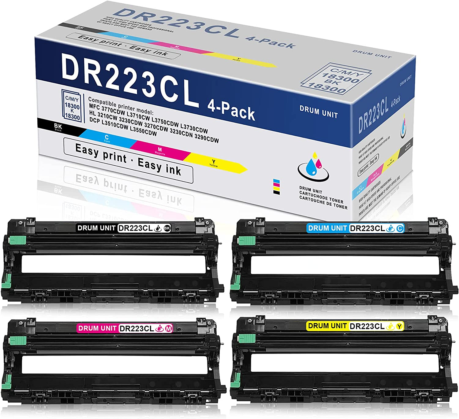 4PK (1BK+1C+1M+1Y) High Yield Drum Unit DR223CL DR-223CL Compatible Replacement for Brother MFC 3770CDW L3710CW L3750CDW L3730CDW HL 3230CDW 3270CDW 3230CDN 3290CDW DCP L3510CDW L3550CDW Printer