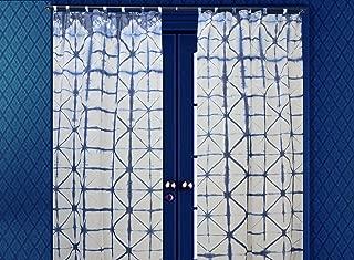 Indian Shibori Curtain, Indigo Sheer Curtain 63 Inches Long, Ethnic Cotton Curtain, Decorative Window Treatment Curtain, Tie Dye Curtain for Living Room, 1 Panel Curtain (Pattern 7, 44 x 63 Inches)