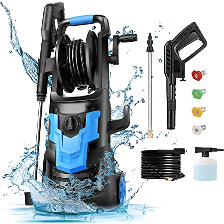 Electric Pressure Washer NUSIIRO, Power Washers High Powerful 1700W, Transformer Body Design, Self Assembled with Spray Gun, Soap Bottle, and Hose Reel, for Cars, Driveways, Patios (Blue)