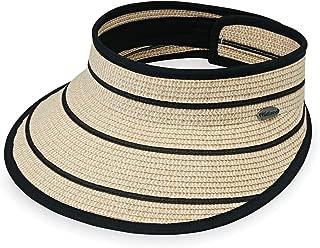 Wallaroo Hat Company Women's Savannah Visor – Camel/Black Stripes – Broad Brim Visor, Elegant Style, Designed in Australia