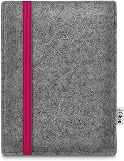 Stilbag Oasis Leon för Amazon Kindle e-läsare väska (9:e generationen), ljusgrå ullfilt – rosa gummiband