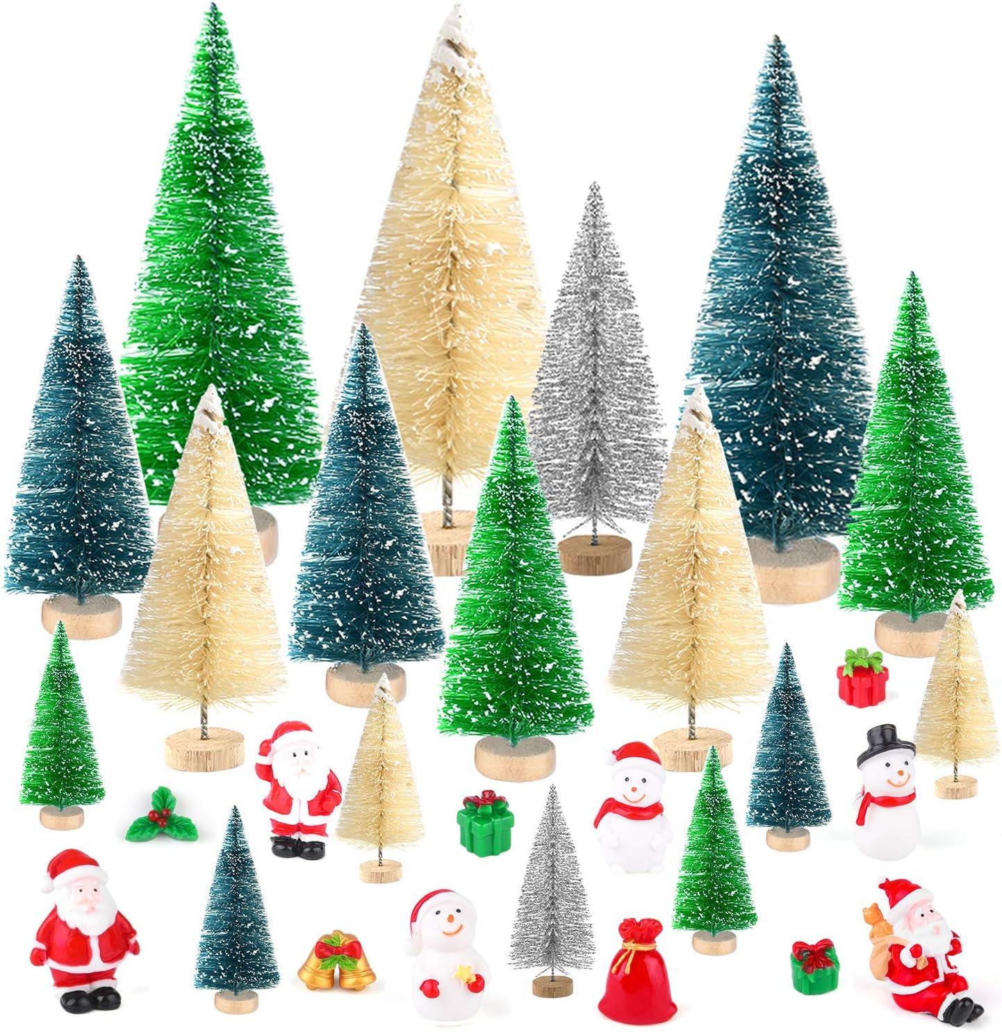 KUUQA 29 Pcs Mini Sisal Snow Frost Trees Bottle Brush Trees Mini Christmas Trees with Figures Santa Claus, Snowman, Boxes Miniature Ornaments for Christmas Village Decoration, Xmas Party Decor