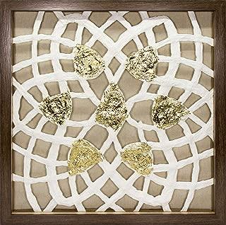 45Min 16-Inch Handmade Paper Art Shadow Box, 3D Abstract Framed Sculpture Wall Art Decor, Contemporary, White/Gold, Petals Space