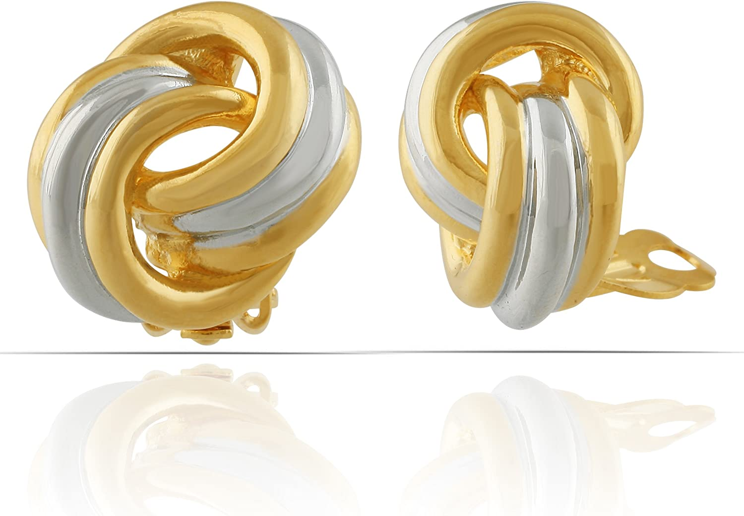 JanKuo Jewelry Two Tone Shining Polished Finish Knot Clip On Earrings