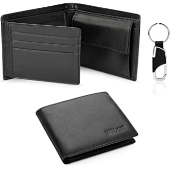 Men/'s Genuine Leather Trifold Credit Card ID Window Holder Black Wallet Gift New