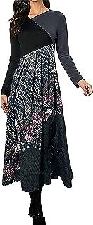 Sponsored Ad - Akivide Women's Long Sleeve Empire Waist Maxi Dresses Casual Loose Long Dresses