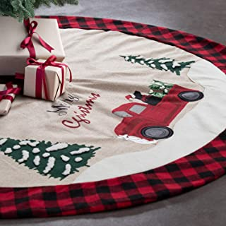 GMOEGEFT 48 Inches Linen Burlap Christmas Tree Skirt, Red and Black Buffalo Check Edge, Vintage Farm Red Truck with Christmas Tree and Dog Pattern, Xmas Tree Ornament Holiday Decoration