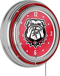 Trademark Gameroom University of Georgia Chrome Double Rung Neon Clock