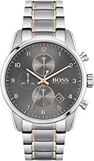 Hugo Boss Black Grey Dial Two Tone Stainless Steel Watch For Men, 1513789