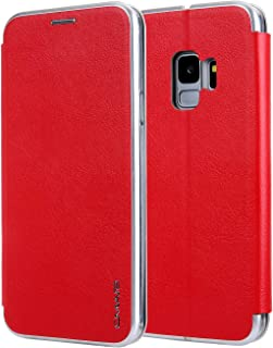 Protective Case Compatible with Samsung Galaxy S9 case,Solid Color PU Leather Flip Wallet Phone Case with Card Holder Kickstand Protective Cover Phone case (Color : Red)