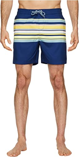 Original Penguin - Engineered Stripe Fixed Volley Stretch Swim Shorts
