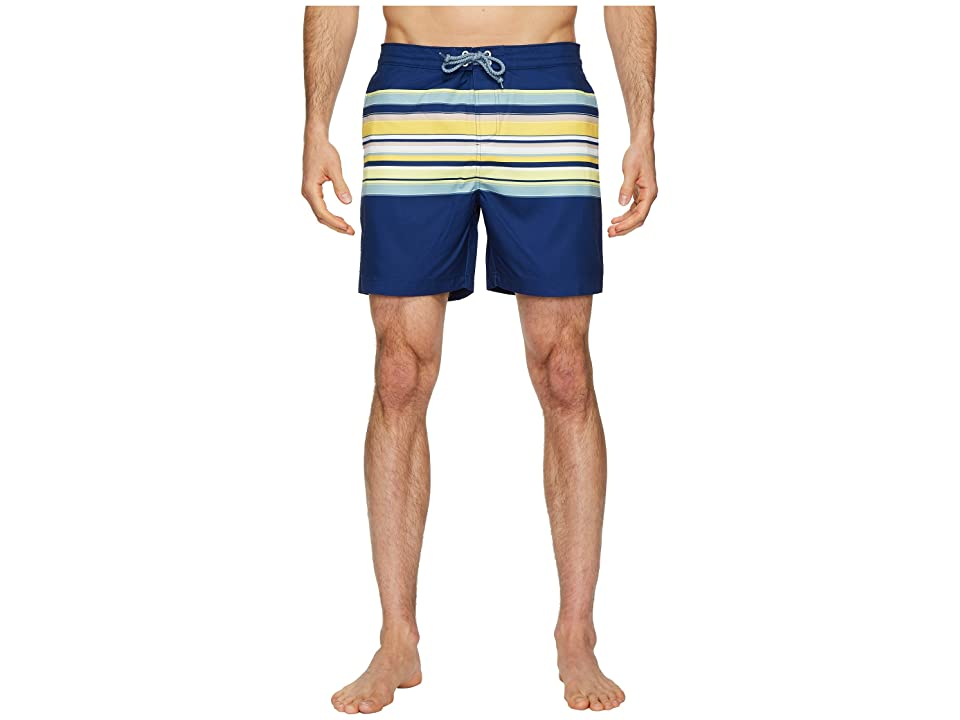 Original Penguin Engineered Stripe Fixed Volley Stretch Swim Shorts (Blue Depths) Men