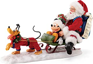 Department 56 Possible Dreams Disney Mickey Mouse, Pluto and Santa Out for Deliveries Figurine, 8.5 Inch, Multicolor