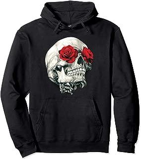 Skull Roses Hoodie Rock Music Skulls Flowers Rockers Gift Pullover Hoodie