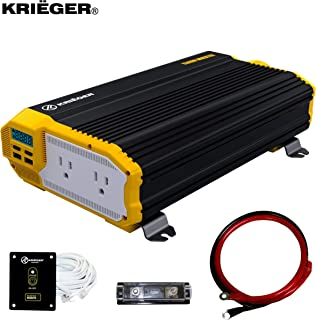 Krieger 1500 Watt 12V Power Inverter, Dual 110V AC Outlets, Installation Kit Included, Back Up Power Supply Perfect for an Emergency, Hurricane, Storm or Outage - MET Approved to UL and CSA Standards