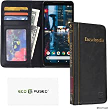 Eco-Fused Book Cover Case Compatible with Google Pixel 2 XL - Wallet Style Credit Card and Bill Slots Inside - Vintage Encyclopedia Design for Your Modern Device - Faux Leather