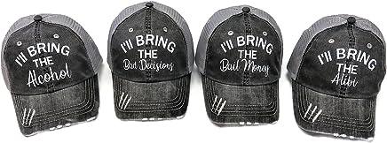Spirit Caps Set of 4 Glitter I'll Bring The Alcohol Bail Money Bad Decisions Alibi Grey Trucker Cap