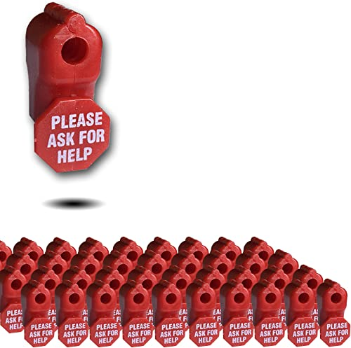 50 X 6mm Red Plastic Retail Shop Security Display Hook Anti- Theft, Anti Sweep Stop Lock with Please Ask for Help Sig...