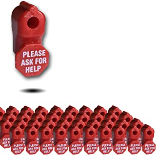 50 X 6mm Red Plastic Retail Shop Security Display Hook Anti- Theft, Anti Sweep Stop Lock with Please Ask for Help Sign for Pegboard or Slat wall