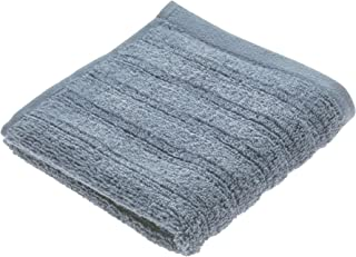 iDesign Spa Washcloth with Hanging Loop, 100% Cotton Textured Striped Soft Absorbent Machine Washable Towel for Bathroom, Shower, Tub - Dusty Blue