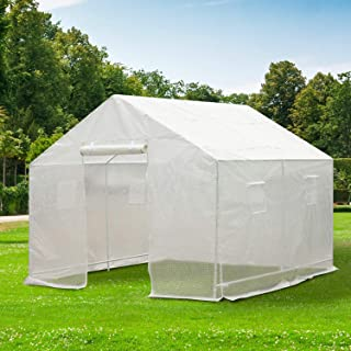 Cozinest Outdoor 10'x10' Green House Portable Walk-in Greenhouse Plant Gardening PE Cover