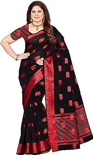 MALIQUA Women's Woven Poly Cotton Saree With Blouse Piece