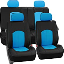 FH Group Limited TIME ONLY FH-PU008114 Perforated Leatherette Full Set Car Seat Covers, (Airbag & Split Ready), Blue/Black Color- Fit Most Car, Truck, SUV, or Van