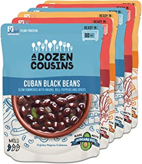 A Dozen Cousins Meals Ready to Eat, Vegan and Non-GMO Seasoned Beans Made with Avocado Oil (Variety Pack, 6...