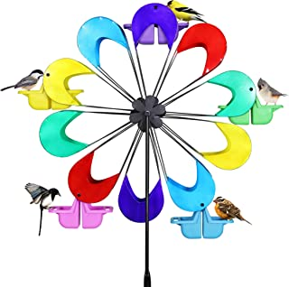 Exhart Spinning Ferris Wheel Bird Feeder Moves w/Weight of up to 12 Birds – 8 feet Tall Giant Metal Bird Feeder w/Multicolor Metal Finish and Feeding Baskets, Bird Feeder Spinner 24in L x 95in H