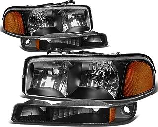 For GMC Sierra/Yukon GMT800 4Pcs Black Housing Amber Corner Headlight+Bumper Light