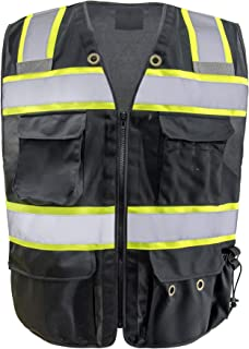 Safety Vest Reflective stripes Safety Black knitted Vest Bright Construction Workwear with for men with 5 pockets. (2XL)
