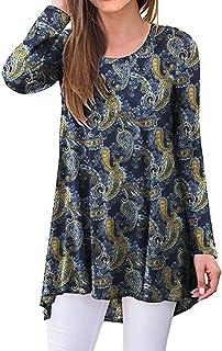 SimpleFun Women's Long Sleeve Tunics Tops Casual Hi Low Hem Comfy Shirts