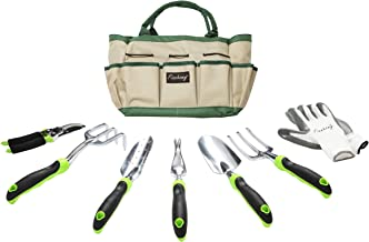 Finnhomy 8 Piece Garden Tool Set with Garden Tote Bag and Work Gloves – Hand Tools..
