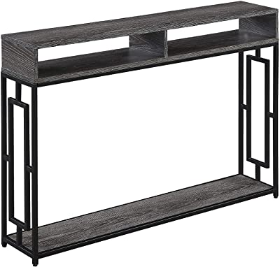 Convenience Concepts Town Square Deluxe 2-Tier Console Table, Weathered Gray/Black