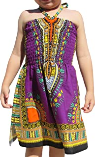 RaanPahMuang Brand Dress Halter Dashiki Colors African Child Smock Chest Strap