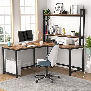 Tribesigns Bureau d'ordinateur en forme de L, station de travail, bureau d'angle industriel avec bibliothèque à 2 niveaux ...