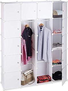 Relaxdays Étagère Cubes Rangement Penderie Armoire, Plastique, Blanc, 36,5 x 145 x 180 cm